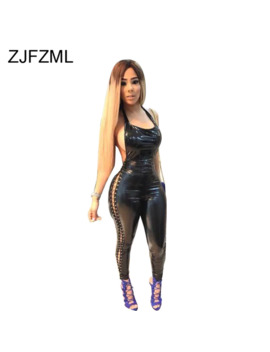 Side Slit Lace Up Hollow Out Pu Leather Romper Women Halter Backless Bodycon Jumpsuits Sexy Clubwear One Piece Black Overalls by Ali Express.Com