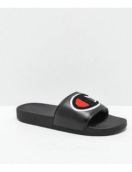 Champion Ipo Chenille Black Slide Sandals by Champion