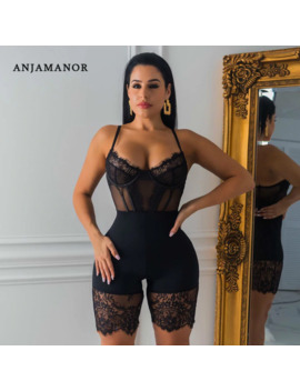 Anjamanor Black Lace Mesh Sheer Bodycon Jumpsuit One Piece Women Clothes Sexy Fall Outfits Clubwear Party Romper Playsuit D30 Ac3 by Ali Express.Com