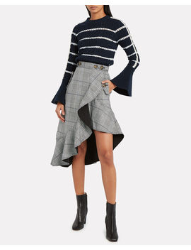 Ruffled Plaid Asymmetric Skirt by Self Portrait
