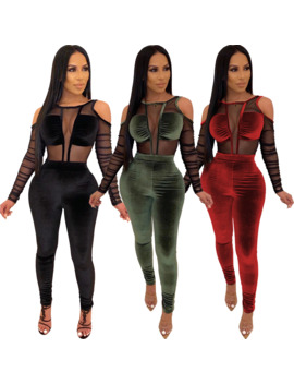 Women Velvet Mesh Patchwork Jumpsuit Sexy Long Sleeve Elegant Rompers Autumn Winter See Through Long Overalls Plus Size by Ali Express.Com