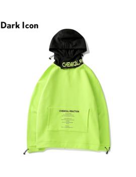 Dark Icon Fluorescent Green Magic Sticker Hoodie Men Streetwear Men's Hoodies Hip Hop Sweatshirts by Ali Express.Com