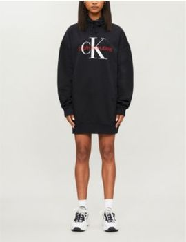 Logo Embroidered Oversized Cotton Jersey Hoody by Calvin Klein