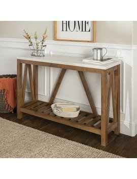 White Marble/Walnut Offerman Console Table by Birch Lane