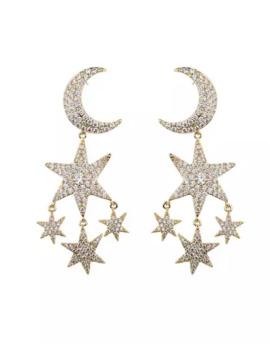 Eye Candy La Star & Moon Double Drop Pave Earrings by Eye Candy La