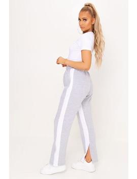 Grey Marl Brushback Contrast Side Panel Straight Leg Joggers by I Saw It First