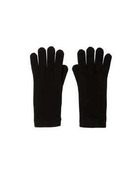 Black Short Cuff Womens Cashmere Gloves by Johnstons Of Elgin