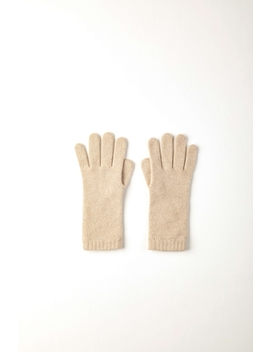 Natural Short Cuff Womens Cashmere Gloves by Johnstons Of Elgin