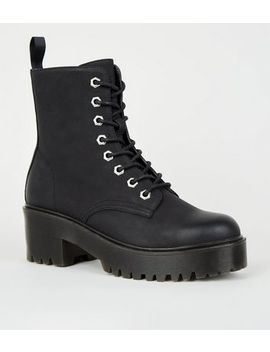 Black Leather Look Cleated Lace Up Boots by New Look