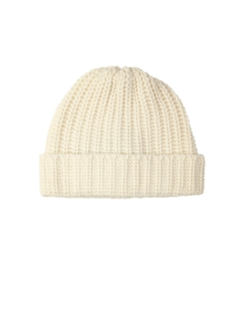 Chunky Luxe Ecru Cashmere Hat by Johnstons Of Elgin