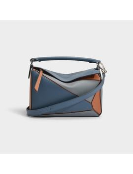 Puzzle Small Bag In Steel Blue And Tan Calfskin by Loewe