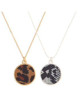 Mixed Metal Animal Print Pendant Necklaces   2 Pack by Claire's