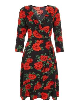 Black And Red Floral Wrap Midi Dress by Quiz