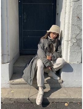 Fuzzy Lined Long Utility Coat by Stylenanda