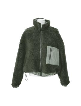 Drawstring Hem Fuzzy Jacket by Stylenanda