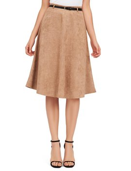 Faux Suede A Line Skirt by Suzy Shier