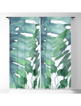 Tropical  Leaves Blackout Curtain by Society6