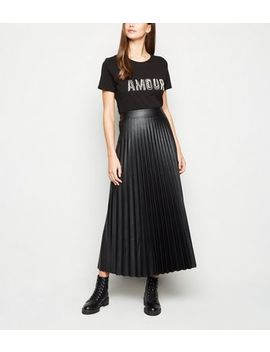 Tall Black Leather Look Pleated Midi Skirt by New Look