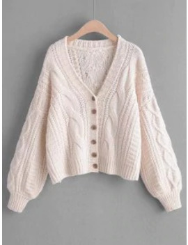 Hot Cable Knit Buttoned Chunky Cardigan   White by Zaful