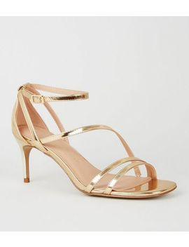 Wide Fit Gold Square Toe Strappy Mid Stilettos by New Look