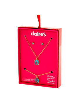 December Birthstone Jewellery Gift Set   Blue Zircon, 3 Pack by Claire's