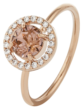 Rose Gold Sparkle Halo Ring With Swarovski® Crystals by Accessorize