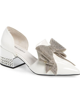 Valenti Embellished Bow Loafer In White Patent Leather/ Silver by Jeffrey Campbell