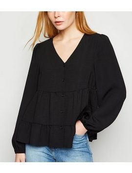 Black Tiered Button Up Long Sleeve Blouse by New Look