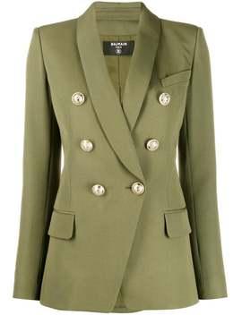 Balmain          Khaki Green Structured Blazer by Balmain