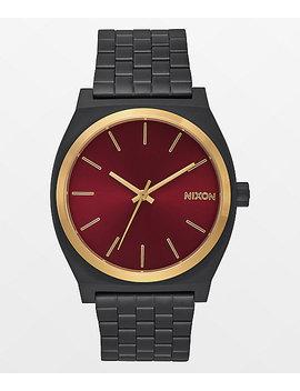 Nixon Time Teller Matte Black, Gold, & Burgundy Watch by Nixon Watches