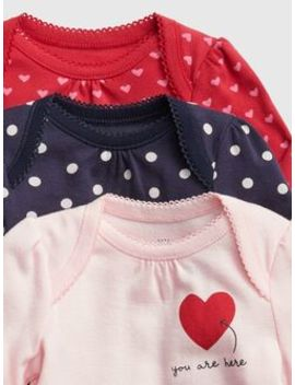 Baby Heart Bodysuit (3 Pack) by Gap