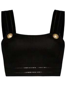 Balmain          Knitted Crop Top Black by Balmain