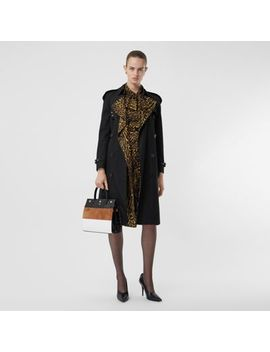Leopard Print Lined Cotton Gabardine Trench Coat by Burberry