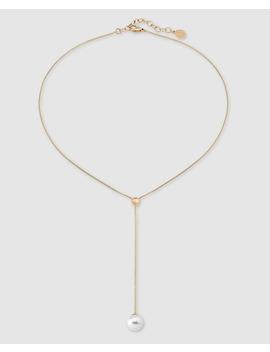 Collar Majorica De Acero Dorada Con Perla Blanca by Majorica