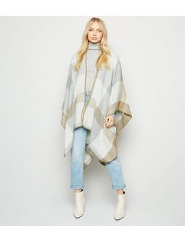 Off White Check Brushed Cape by New Look