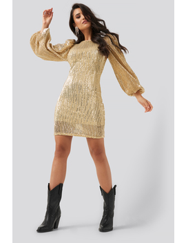 Puff Sleeve Sequin Mini Dress Gold by Na Kd Party