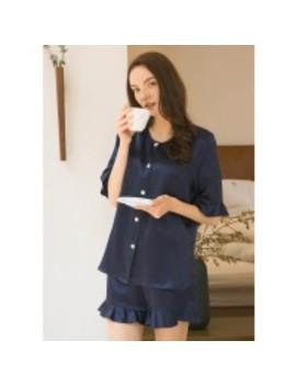 Ruffle Trim 22 Mm Causal Silk Pajamas Set by Lily Silk