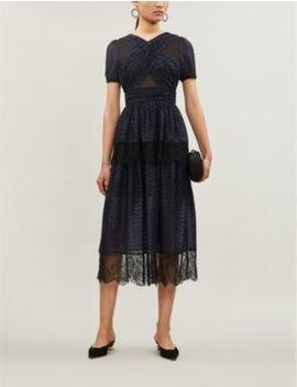 Short Sleeved Fil Coupé Dress by Self Portrait