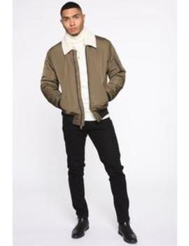 Chi Town Sherpa Collar Bomber Jacket   Olive/Combo by Fashion Nova