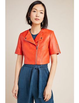 Lamarque Kirsi Cropped Leather Moto Jacket by Lamarque