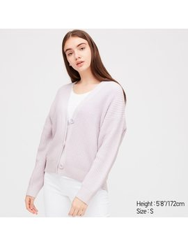 Women Relaxed V Neck Cardigan by Uniqlo