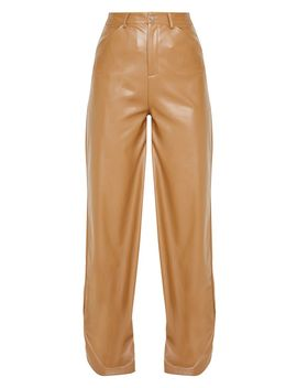 Tan Faux Leather Contrast Stitch Wide Leg Pants  by Prettylittlething