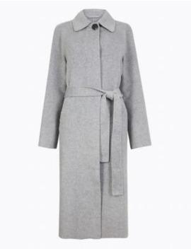 Wool Blend Belted Car Coat by Marks & Spencer