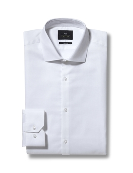 Moss London Skinny Fit White Single Cuff Textured Shirt by Moss Bros