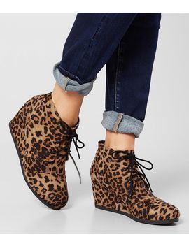 City Classified Rex Cheetah Wedge Ankle Boot by Buckle