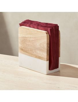Wood And Marble Napkin Holder by Crate&Barrel