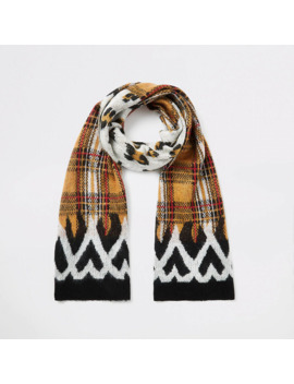 Red Mixed Print Knitted Scarf by River Island
