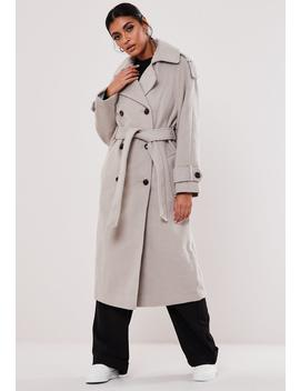 Gray Belted Oversized Trench Coat by Missguided
