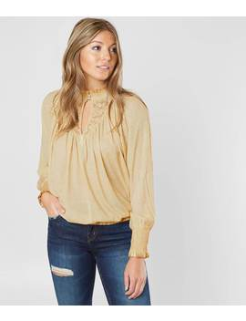 Washed Mock Neck Top by Gimmicks