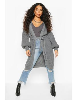 Petite Chunky Knit Belted Cardigan by Boohoo